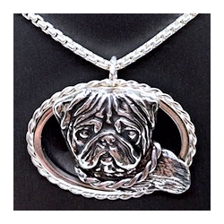 silver pug oval necklace
