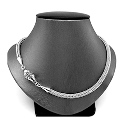 CLASSICAL HAND-WOVEN FINE SILVER LOOP-IN-LOOP CHAIN