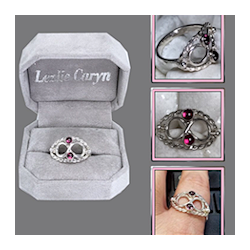 Sterling Silver Infinity Twisted Wire Ring w/ Bezel Set Rhodolite Garnet Cabochons