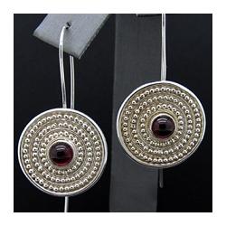 Fine Silver Granulated Earrings in a Circular Pattern