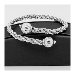 Sterling Silver Viking Braid By-Pass Bracelet with Hand-Formed Melon Shaped End Caps