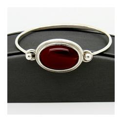 Sterling Silver Hand-Formed Tension Bangle Bracelet with Bezel Set Oval Carnelian Cabochon