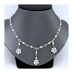 Sterling Silver & Freshwater Pearls hand-wrapped into 3 delicate flower station pendants